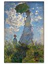 kvinna med ett parasoll - madame Monet och hennes son Claude Monet berömda konsttryck