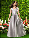 Lanting Bride Floor-length Taffeta Junior Bridesmaid Dress A-line / Princess V-neck Empire with Draping / Criss Cross