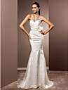 Lanting Bride® Trumpet / Mermaid Petite / Plus Sizes Wedding Dress - Chic & Modern / Elegant & Luxurious Sparkle & ShineSweep / Brush