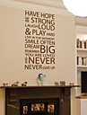 Words & Quotes Wall Stickers Have Hope Never Give Up Washable Wall Decals