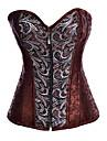 satin oțel poliester maro dezosată stil steampunk corset lenjerie sexy formator