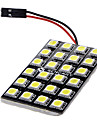 BA9S/Festoon/T10 12W 24x5060SMD 900-1000LM 6000-6500K White Light LED Car lampa (DC 12V)