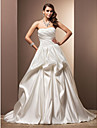 A-line Plus Sizes Wedding Dress - Ivory Chapel Train Sweetheart Satin