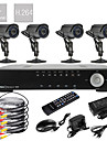 4CH D1 Real Time H.264 600TVL High Definition CCTV DVR Kit (4stk Vandtæt Dag Nat CMOS-kameraer)