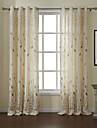 moderna två paneler blad vitt vardagsrum linne / polyester blandning panelgardiner draperier