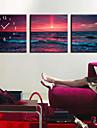 style moderne, l\'horloge murale de la mer en toile 3pcs