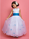 A-line / Princess Ankle-length Flower Girl Dress - Organza / Taffeta Sleeveless Jewel with Flower(s) / Sash / Ribbon / Ruching