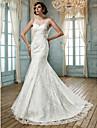 Lan Ting Trumpet/Mermaid Plus Sizes Wedding Dress - Ivory Sweep/Brush Train Jewel Tulle/Lace