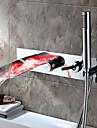 Nutida Badkar och dusch Flush Mount Lights Vattenfall Handdusch inkluderad with  Keramisk Ventil Enda handtag Fem hål for  Krom ,