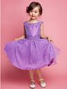 A-line/Princess Knee-length Flower Girl Dress - Cotton/Polyester Sleeveless