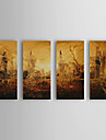Hand Painted Oil Painting Abstract With Stretched Frame Set of 4 1308-AB0529