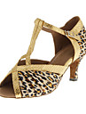 Customizable Women\'s Dance Shoes Latin/Ballroom Satin Customized Heel Leopard