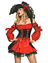 Costumes de Cosplay Costume de Soiree Pirate Fete / Celebration Deguisement d\'Halloween Rouge Mosaique Robe ChapeauHalloween Noel