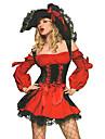 Costumes de Cosplay Costume de Soiree Pirate Fete / Celebration Deguisement d\'Halloween Rouge Mosaique Robe ChapeauHalloween Noel