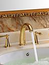 Rustik Hål med bredare avstånd Två handtag tre hål in Ti-PVD Badrum Sink kran
