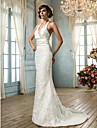 Lanting Bride® Trumpet / sjöjungfru Petite Plusstorlekar Brudklänning - Klassisk och tidlös Glamorös och dramatiskVintage-inspirerad