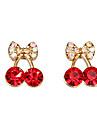 Frauen niedlichen roten Kirschen zarten Diamant-Ohrringe E471