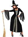 Cosplay Kostymer/Dräkter / Festklädsel Trollkarl/häxa Festival/Högtid Halloween Kostymer svart Enfärgat Klänning / Hatt Halloween Kvinna