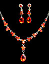Fashion Alloy With Red Zircon&Rhinestone Jewelry Set(Including Necklace,Earrings)