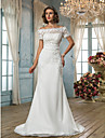 Lan Ting Trumpet/Mermaid Plus Sizes Wedding Dress - Ivory Sweep/Brush Train Off-the-shoulder Chiffon/Lace