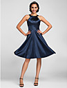 Knee-length Stretch Satin Bridesmaid Dress - Dark Navy Plus Sizes / Petite A-line Jewel
