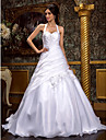 Lanting Bride® A-line / Princess Plus Sizes / Petite Wedding Dress - Classic & Timeless / Elegant & Luxurious Sweep / Brush Train Halter