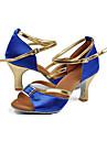 Customizable Women\'s Dance Shoes Latin Satin Customized Heel Blue