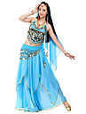 Belly Dance Outfits Women\'s Chiffon Beading / Coins / Sequins Black / Blue / Pink / Purple / Red / Royal Blue / White / YellowBelly Dance