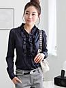 Women\'s Formal Simple All Seasons Shirt,Solid Long Sleeve Blue / White Medium