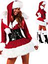 röd fluffig klänning kvinnors jul kostym