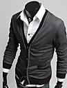 För män V Neck Kontrast Färg Buckle Tröjor Coat