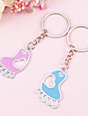 Foot Shaped Key Ring With Cut-out Heart(Set of  4 Pairs)