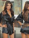 Black Lace Satin Robe Women\'s Night Sleepwear