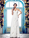 Lanting Bride Sheath/Column Petite / Plus Sizes Wedding Dress-Floor-length Spaghetti Straps Chiffon