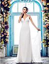 Lanting Bride® Sheath / Column Petite / Plus Sizes Wedding Dress - Classic & Timeless / Glamorous & Dramatic Open Back Sweep / Brush Train