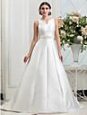 A-line/Princess Plus Sizes Wedding Dress - Ivory Chapel Train V-neck Satin