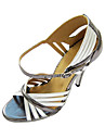 Customizable Women\'s Dance Shoes Latin/Ballroom Leatherette Customized Heel Silver