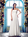 Sheath/Column Plus Sizes Wedding Dress - Ivory Sweep/Brush Train Strapless Chiffon