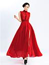 vrouwen eenvoud kanten pan kraag slip zoom maxi jurk