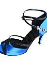 Chaussures de danse(Bleu) -Personnalisables-Talon Personnalise-Satin-Latine Salon