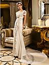 LAN TING BRIDE A tubino Vestito da sposa - Classico Glamour Ispirazione Vintage Pizzo Strascico di corte Smerlato Di pizzo Raso conCon