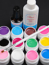 15PCS 12 Color 8ML Transparent Pure Color UV Gel Nail Art Set B