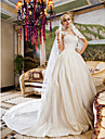 Lan Ting Ball Gown Plus Sizes Wedding Dress - Ivory Chapel Train Queen Anne Satin/Lace