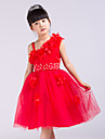 Formal Evening / Wedding Party Dress A-line One Shoulder Knee-length Satin / Tulle with Flower(s)