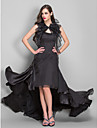 Formal Evening / Military Ball Dress - Black Plus Sizes / Petite A-line Spaghetti Straps Asymmetrical Chiffon / Organza