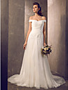 Lan Ting Fit & Flare Plus Sizes Wedding Dress - Ivory Sweep/Brush Train Off-the-shoulder Tulle