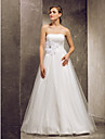 Lanting Bride® A-line Petite / Plus Sizes Wedding Dress - Classic & Timeless Floor-length Strapless Tulle