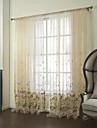 land två paneler blom- botaniska beige sovrum poly bomullsblandning skira gardiner nyanser