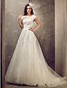 A-line/Princess Plus Sizes Wedding Dress - Ivory Sweep/Brush Train Queen Anne Tulle/Lace