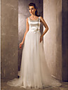 A-line/Princess Plus Sizes Wedding Dress - Ivory Sweep/Brush Train Scoop Tulle/Stretch Satin